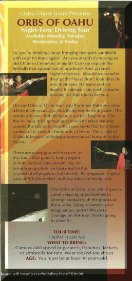 Orbs Of Oahu Ghost Tour